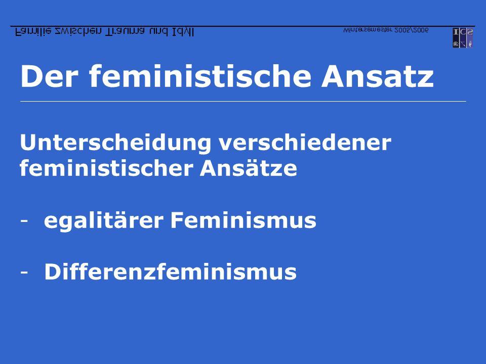Der feministische Ansatz Unterscheidung verschiedener feministischer Ansätze -egalitärer Feminismus -Differenzfeminismus