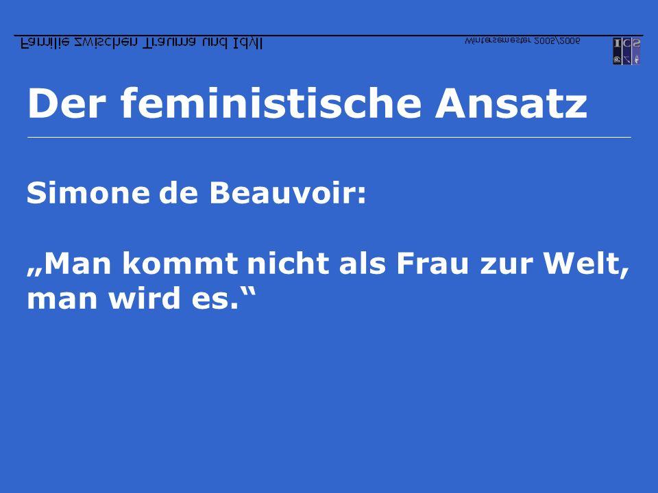 Der feministische Ansatz Simone de Beauvoir: Man kommt nicht als Frau zur Welt, man wird es.