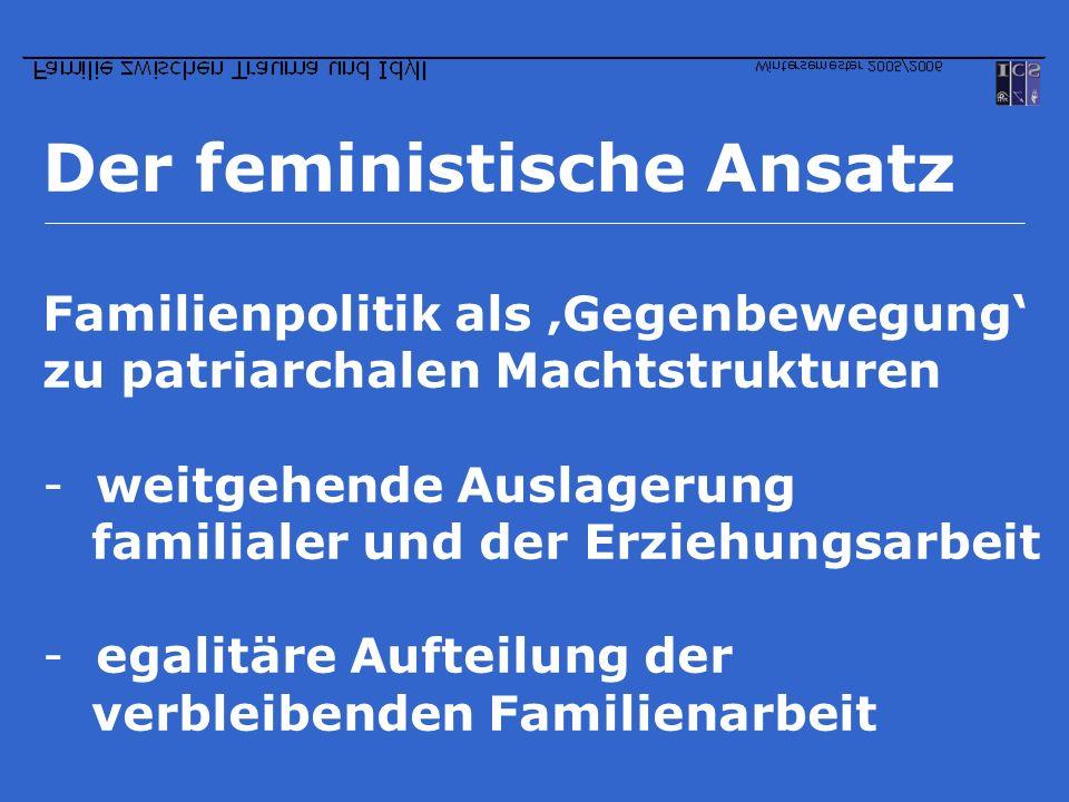 Der feministische Ansatz Familienpolitik als Gegenbewegung zu patriarchalen Machtstrukturen -weitgehende Auslagerung familialer und der Erziehungsarbe