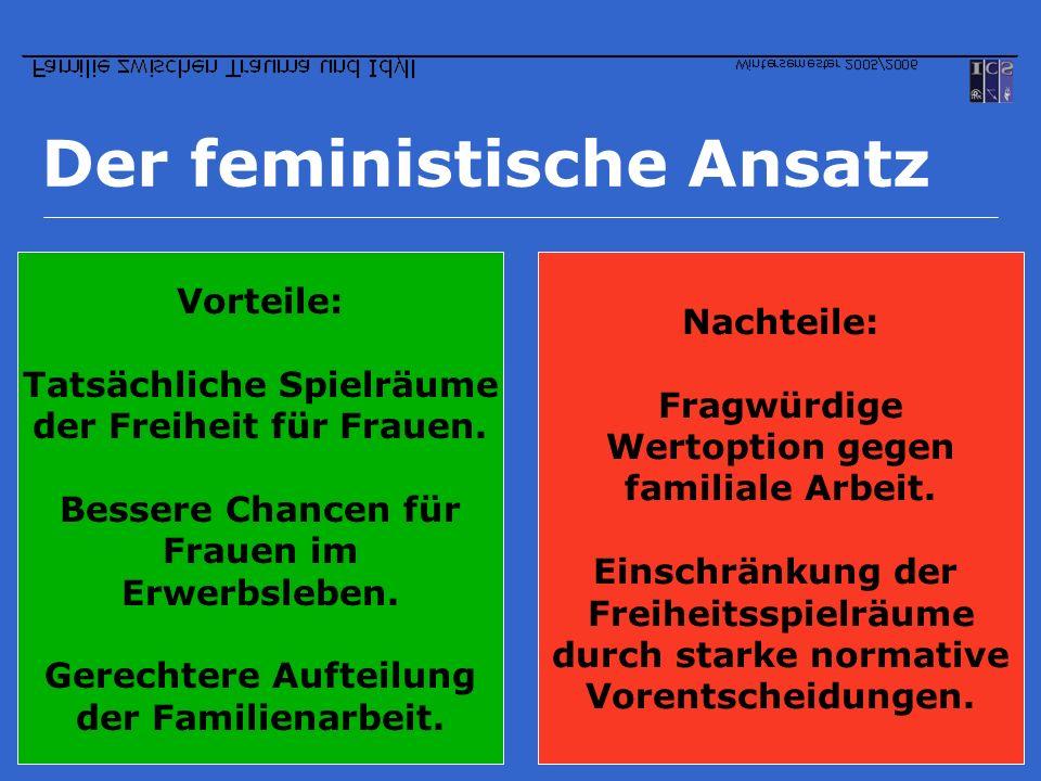 Der feministische Ansatz Vorteile: Tatsächliche Spielräume der Freiheit für Frauen. Bessere Chancen für Frauen im Erwerbsleben. Gerechtere Aufteilung