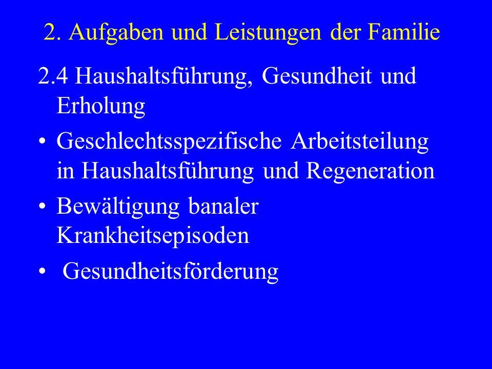 2. Aufgaben und Leistungen der Familie 2.4 Haushaltsführung, Gesundheit und Erholung Geschlechtsspezifische Arbeitsteilung in Haushaltsführung und Reg