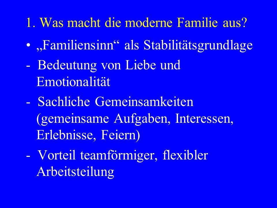 1. Was macht die moderne Familie aus? Familiensinn als Stabilitätsgrundlage - Bedeutung von Liebe und Emotionalität - Sachliche Gemeinsamkeiten (gemei