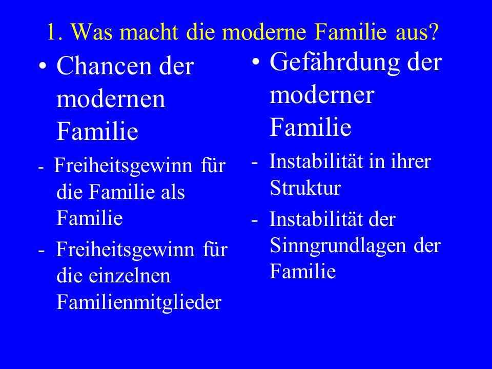 1. Was macht die moderne Familie aus? Chancen der modernen Familie - Freiheitsgewinn für die Familie als Familie - Freiheitsgewinn für die einzelnen F