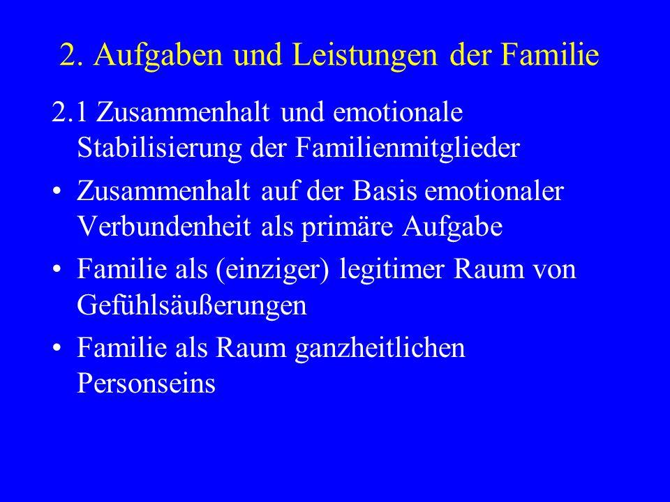 2. Aufgaben und Leistungen der Familie 2.1 Zusammenhalt und emotionale Stabilisierung der Familienmitglieder Zusammenhalt auf der Basis emotionaler Ve