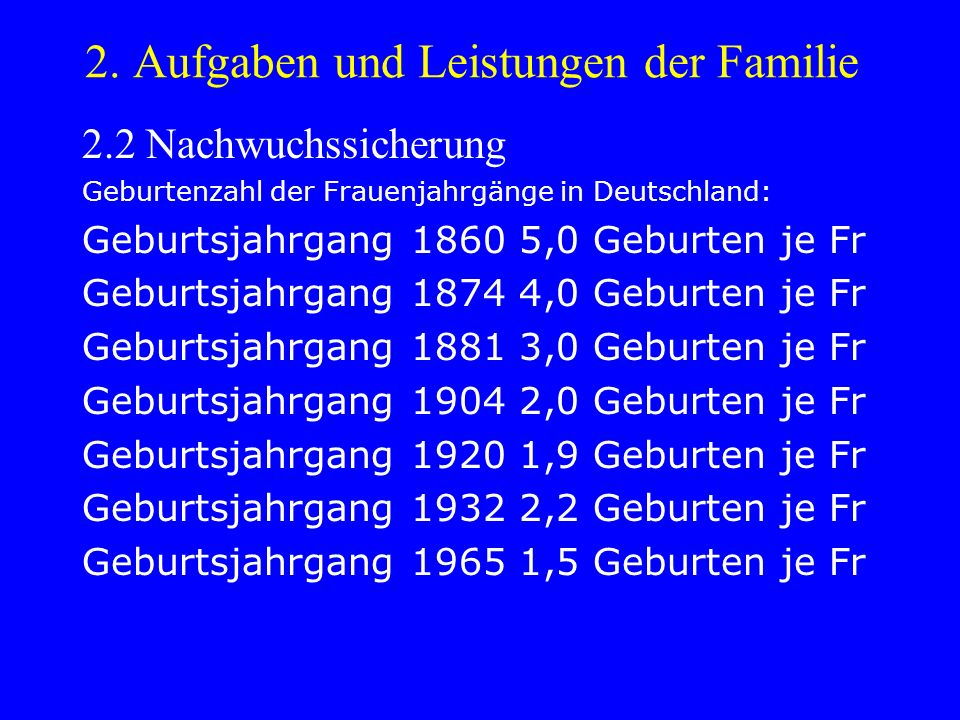 2. Aufgaben und Leistungen der Familie 2.2 Nachwuchssicherung Geburtenzahl der Frauenjahrgänge in Deutschland: Geburtsjahrgang 1860 5,0 Geburten je Fr