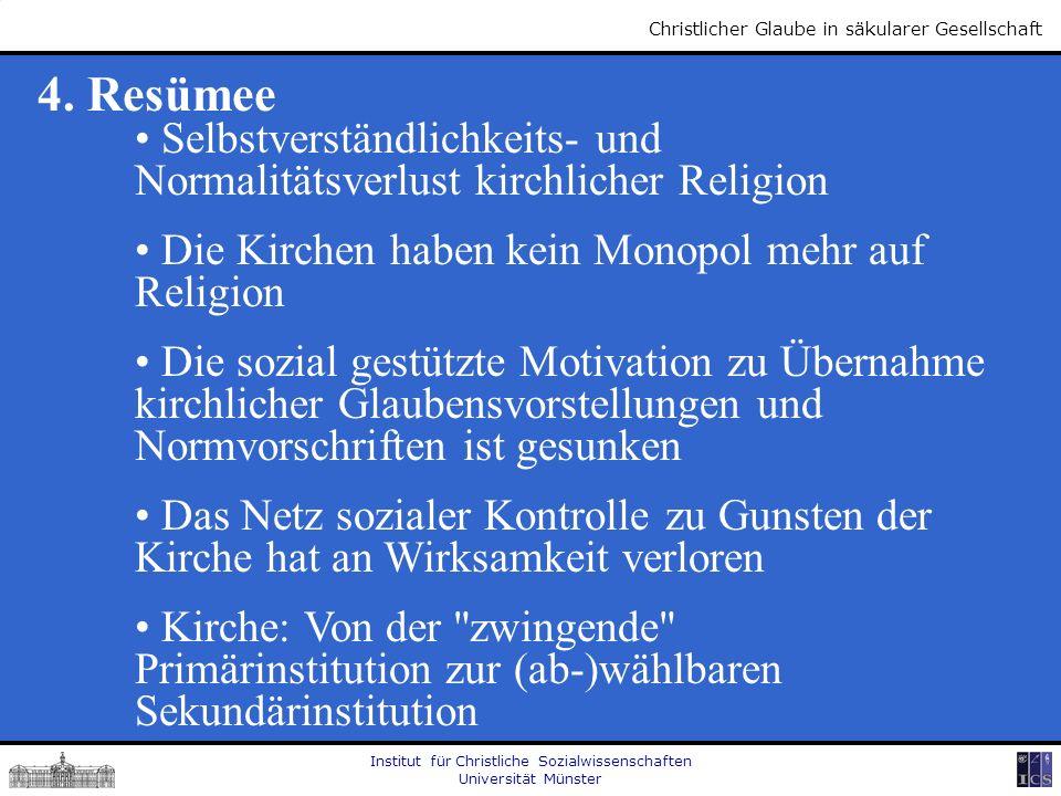 Institut für Christliche Sozialwissenschaften Universität Münster Christlicher Glaube in säkularer Gesellschaft 4. Resümee Selbstverständlichkeits- un