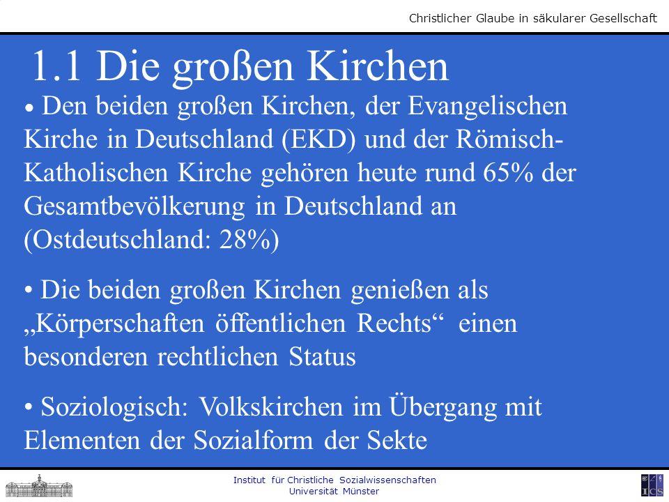 Institut für Christliche Sozialwissenschaften Universität Münster Christlicher Glaube in säkularer Gesellschaft 1.1 Die großen Kirchen Den beiden groß