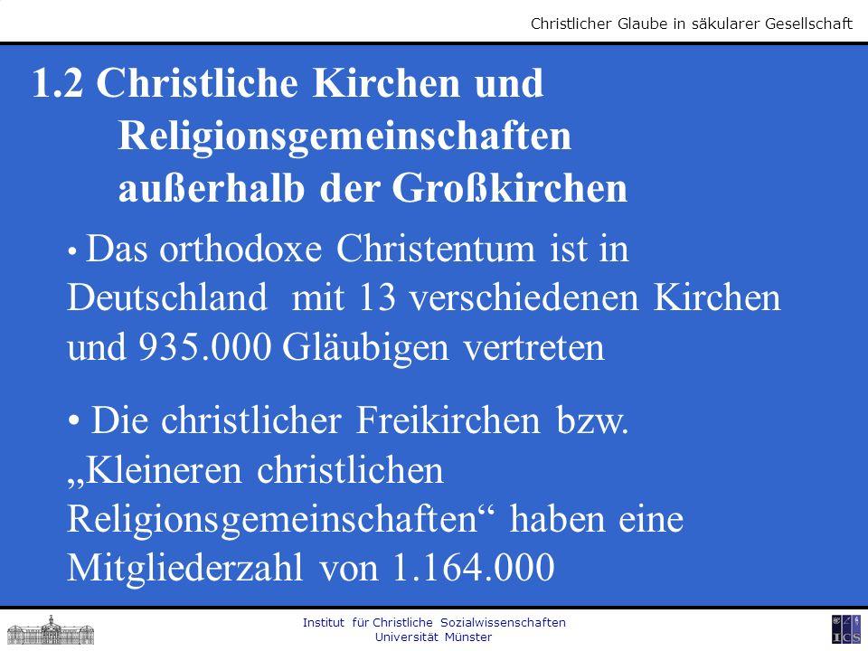 Institut für Christliche Sozialwissenschaften Universität Münster Christlicher Glaube in säkularer Gesellschaft 1.2 Christliche Kirchen und Religionsg
