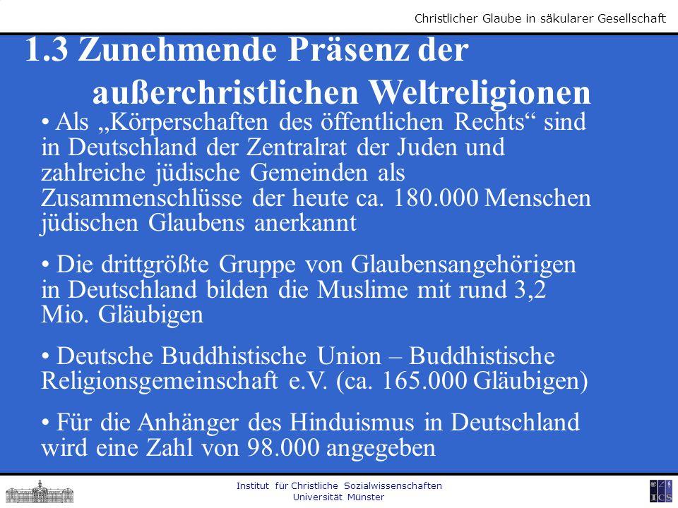 Institut für Christliche Sozialwissenschaften Universität Münster Christlicher Glaube in säkularer Gesellschaft 1.3 Zunehmende Präsenz der außerchrist