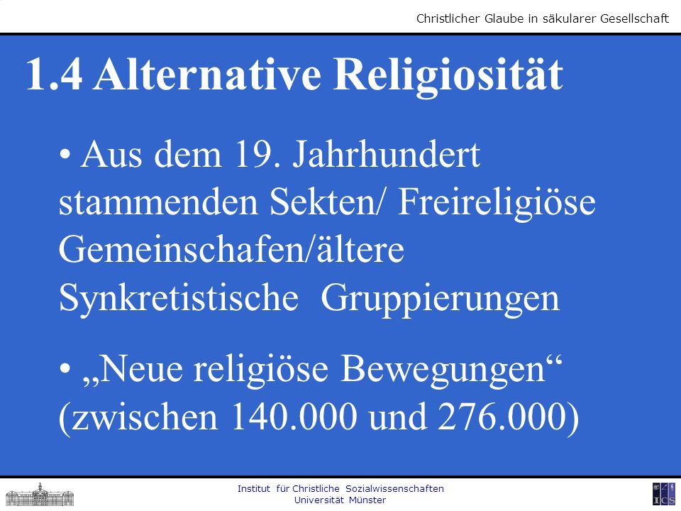 Institut für Christliche Sozialwissenschaften Universität Münster Christlicher Glaube in säkularer Gesellschaft 1.4 Alternative Religiosität Aus dem 1