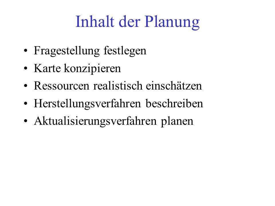 Form der Planung als Dokument: Redaktionsplan enthält mindestens: –Fragestellung (Zweck der Karte) –Kartenentwurf (inkl.