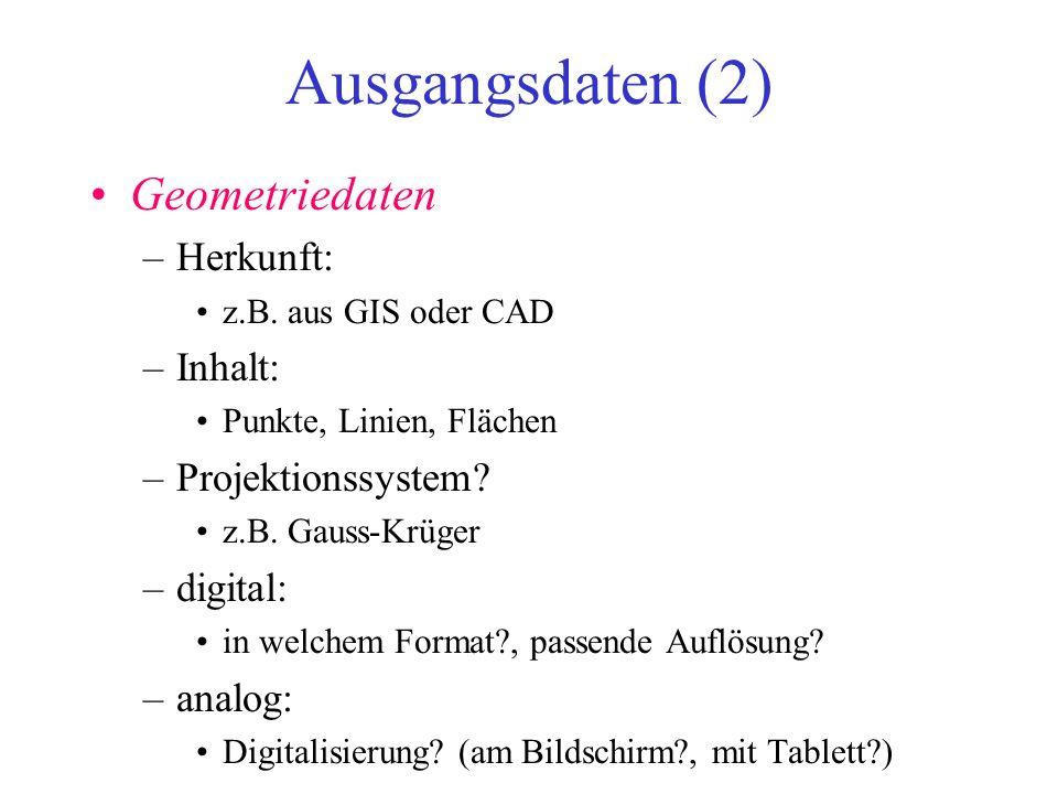 Ausgangsdaten (2) Geometriedaten –Herkunft: z.B. aus GIS oder CAD –Inhalt: Punkte, Linien, Flächen –Projektionssystem? z.B. Gauss-Krüger –digital: in