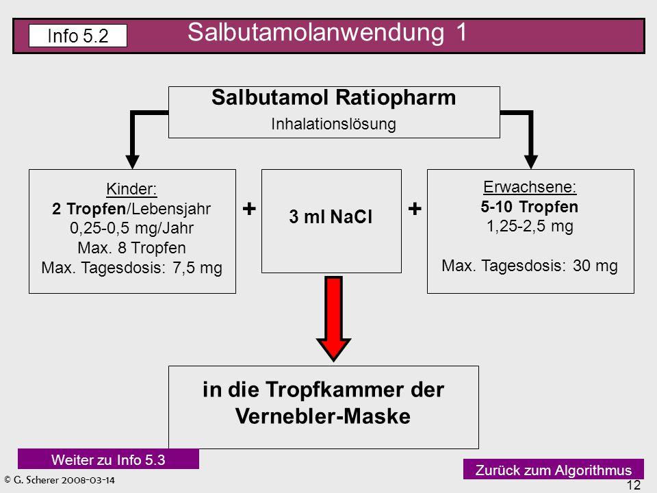 © G. Scherer 2008-03-14 12 Salbutamol Ratiopharm Inhalationslösung Kinder: 2 Tropfen/Lebensjahr 0,25-0,5 mg/Jahr Max. 8 Tropfen Max. Tagesdosis: 7,5 m