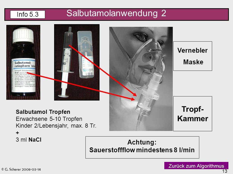 © G. Scherer 2008-03-14 13 Vernebler Maske Tropf- Kammer Achtung: Sauerstoffflow mindestens 8 l/min Salbutamol Tropfen Erwachsene 5-10 Tropfen Kinder