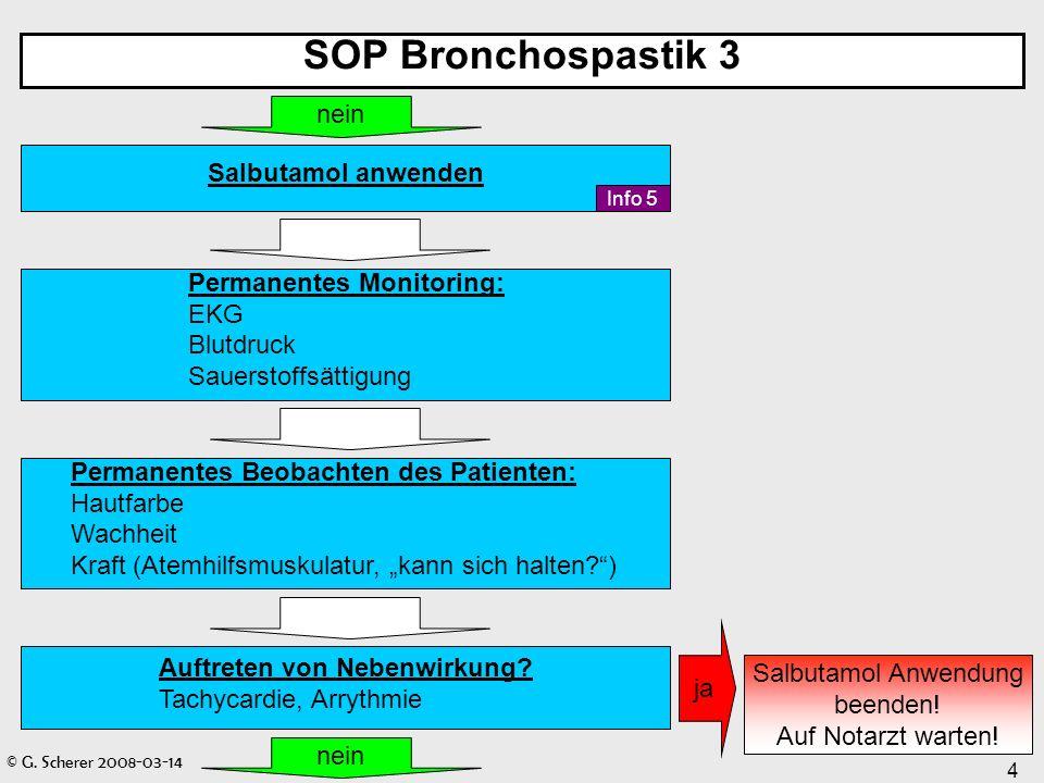© G. Scherer 2008-03-14 4 SOP Bronchospastik 3 Permanentes Monitoring: EKG Blutdruck Sauerstoffsättigung Salbutamol anwenden nein Permanentes Beobacht