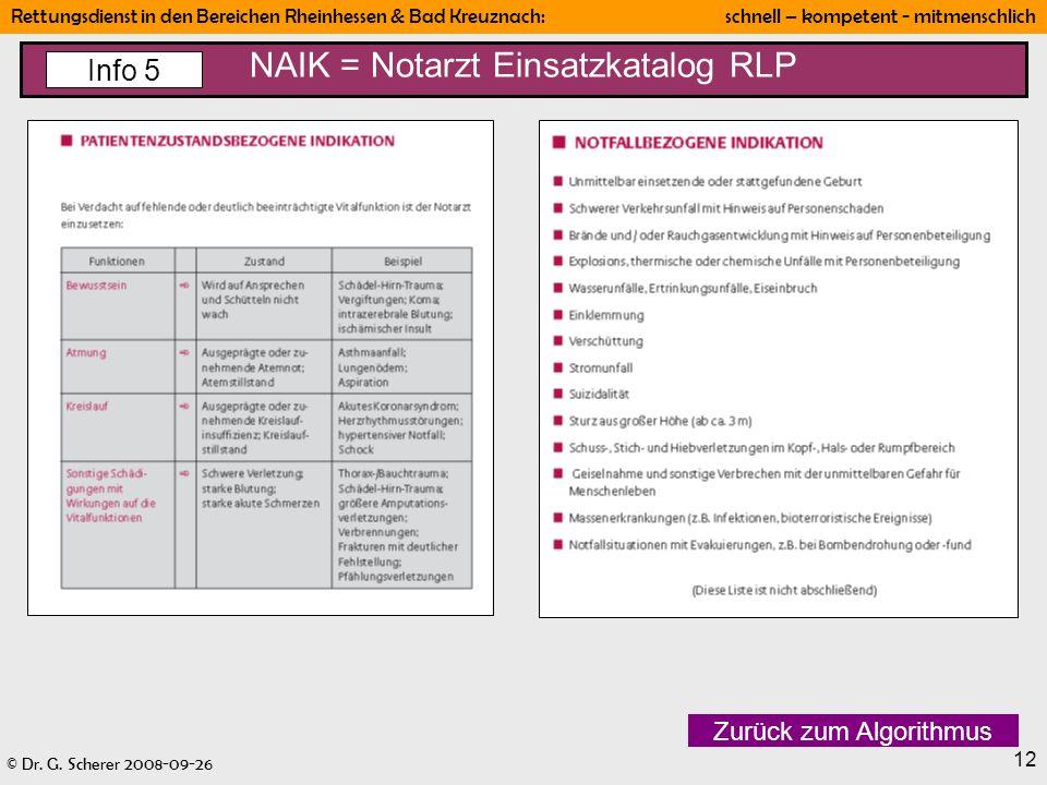 © Dr. G. Scherer 2008-09-26 Rettungsdienst in den Bereichen Rheinhessen & Bad Kreuznach: schnell – kompetent - mitmenschlich 12 NAIK = Notarzt Einsatz