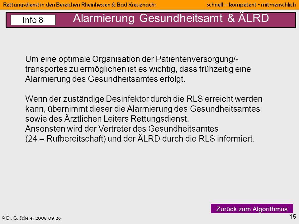 © Dr. G. Scherer 2008-09-26 Rettungsdienst in den Bereichen Rheinhessen & Bad Kreuznach: schnell – kompetent - mitmenschlich 15 Alarmierung Gesundheit
