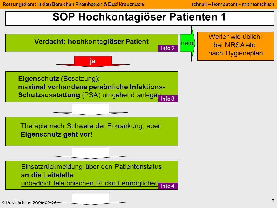 © Dr. G. Scherer 2008-09-26 Rettungsdienst in den Bereichen Rheinhessen & Bad Kreuznach: schnell – kompetent - mitmenschlich 2 SOP Hochkontagiöser Pat
