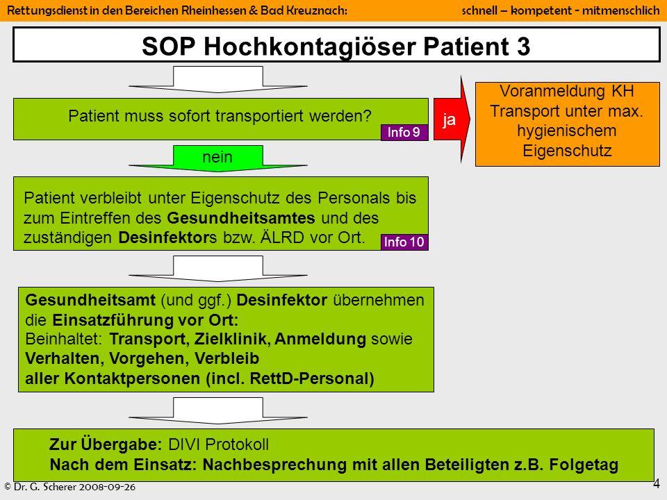 © Dr. G. Scherer 2008-09-26 Rettungsdienst in den Bereichen Rheinhessen & Bad Kreuznach: schnell – kompetent - mitmenschlich 4 SOP Hochkontagiöser Pat