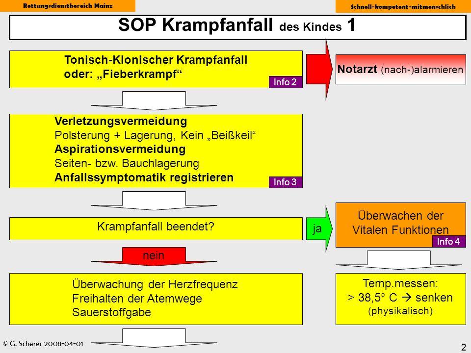 © G. Scherer 2008-04-01 Rettungsdienstbereich Mainz Schnell-kompetent-mitmenschlich 2 SOP Krampfanfall des Kindes 1 Tonisch-Klonischer Krampfanfall od
