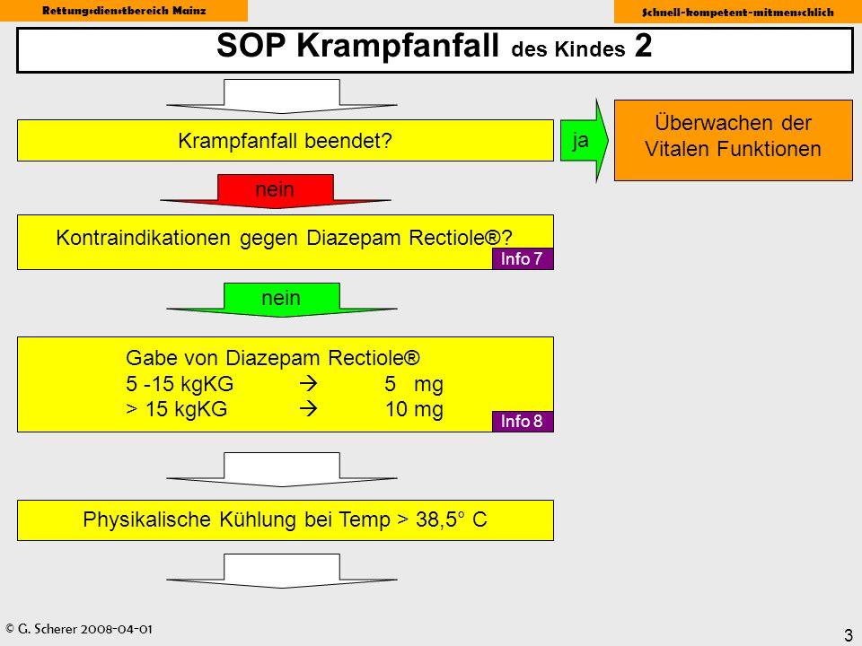 © G. Scherer 2008-04-01 Rettungsdienstbereich Mainz Schnell-kompetent-mitmenschlich 3 SOP Krampfanfall des Kindes 2 Gabe von Diazepam Rectiole® 5 -15