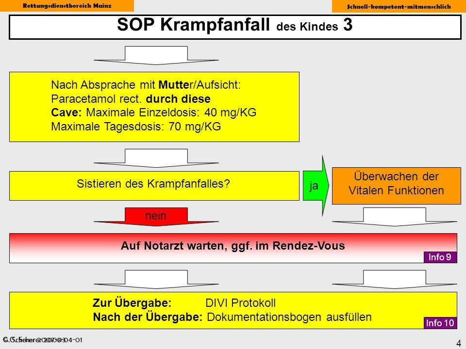 © G. Scherer 2008-04-01 Rettungsdienstbereich Mainz Schnell-kompetent-mitmenschlich 4 SOP Krampfanfall des Kindes 3 G. Scherer 2007-03 ja Sistieren de