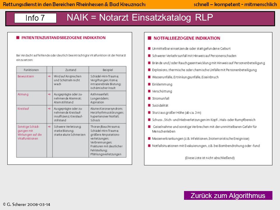 Rettungsdienst in den Bereichen Rheinhessen & Bad Kreuznach: schnell – kompetent - mitmenschlich © G. Scherer 2008-03-14 NAIK = Notarzt Einsatzkatalog