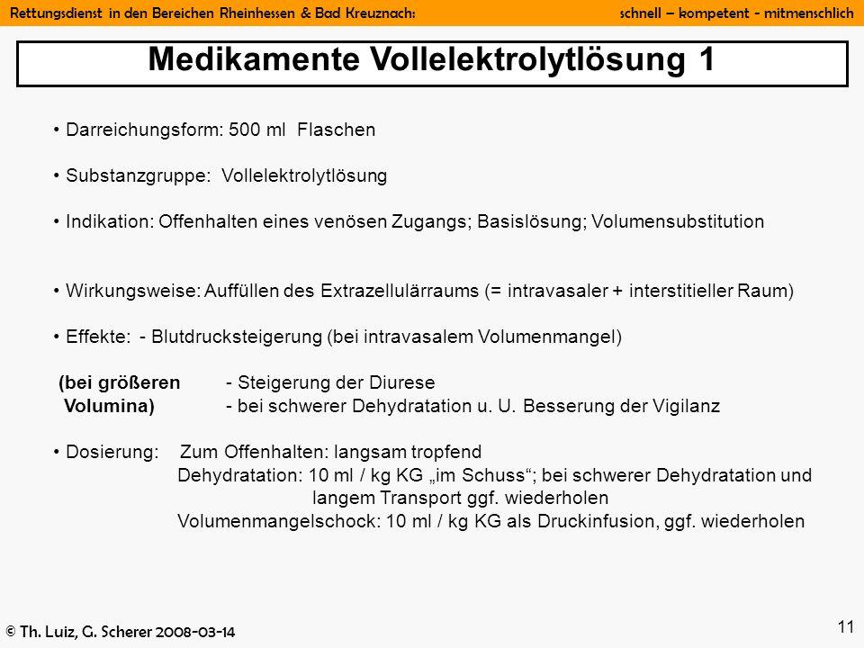 Rettungsdienst in den Bereichen Rheinhessen & Bad Kreuznach: schnell – kompetent - mitmenschlich © Th. Luiz, G. Scherer 2008-03-14 11 Darreichungsform