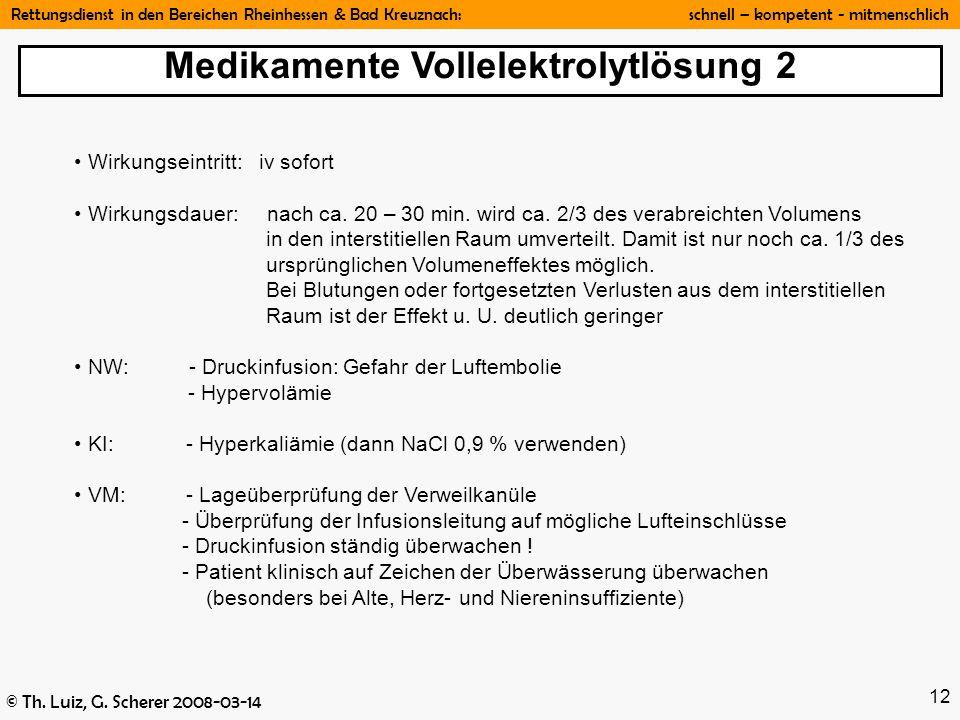 Rettungsdienst in den Bereichen Rheinhessen & Bad Kreuznach: schnell – kompetent - mitmenschlich © Th. Luiz, G. Scherer 2008-03-14 12 Wirkungseintritt