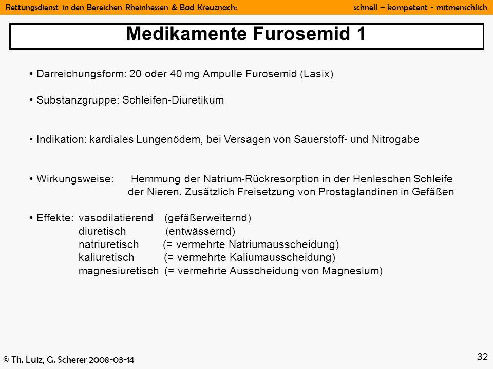 Rettungsdienst in den Bereichen Rheinhessen & Bad Kreuznach: schnell – kompetent - mitmenschlich © Th. Luiz, G. Scherer 2008-03-14 32 Darreichungsform