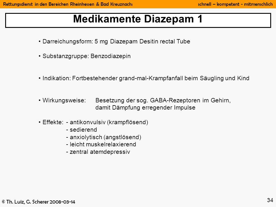 Rettungsdienst in den Bereichen Rheinhessen & Bad Kreuznach: schnell – kompetent - mitmenschlich © Th. Luiz, G. Scherer 2008-03-14 34 Darreichungsform