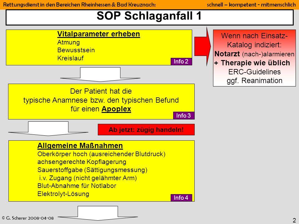 © G. Scherer 2008-04-08 Rettungsdienst in den Bereichen Rheinhessen & Bad Kreuznach: schnell – kompetent - mitmenschlich 2 SOP Schlaganfall 1 Der Pati