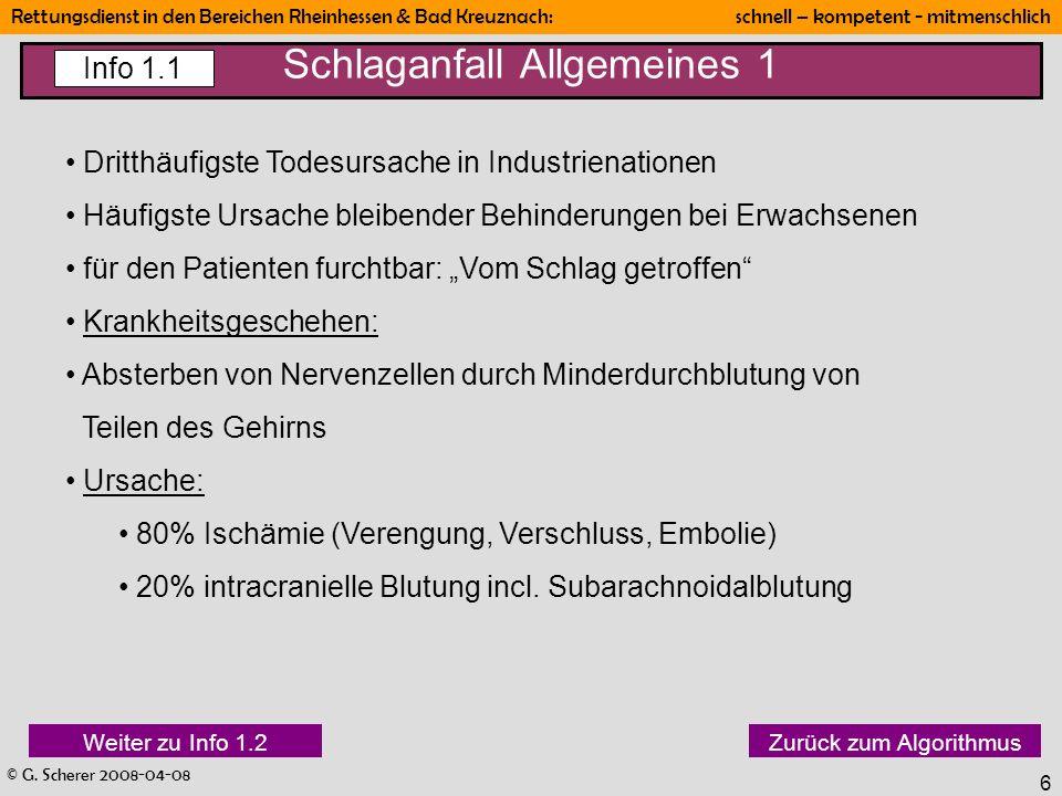 © G. Scherer 2008-04-08 Rettungsdienst in den Bereichen Rheinhessen & Bad Kreuznach: schnell – kompetent - mitmenschlich 6 Schlaganfall Allgemeines 1