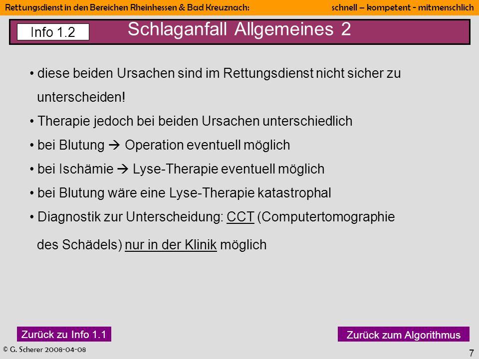 © G. Scherer 2008-04-08 Rettungsdienst in den Bereichen Rheinhessen & Bad Kreuznach: schnell – kompetent - mitmenschlich 7 Schlaganfall Allgemeines 2