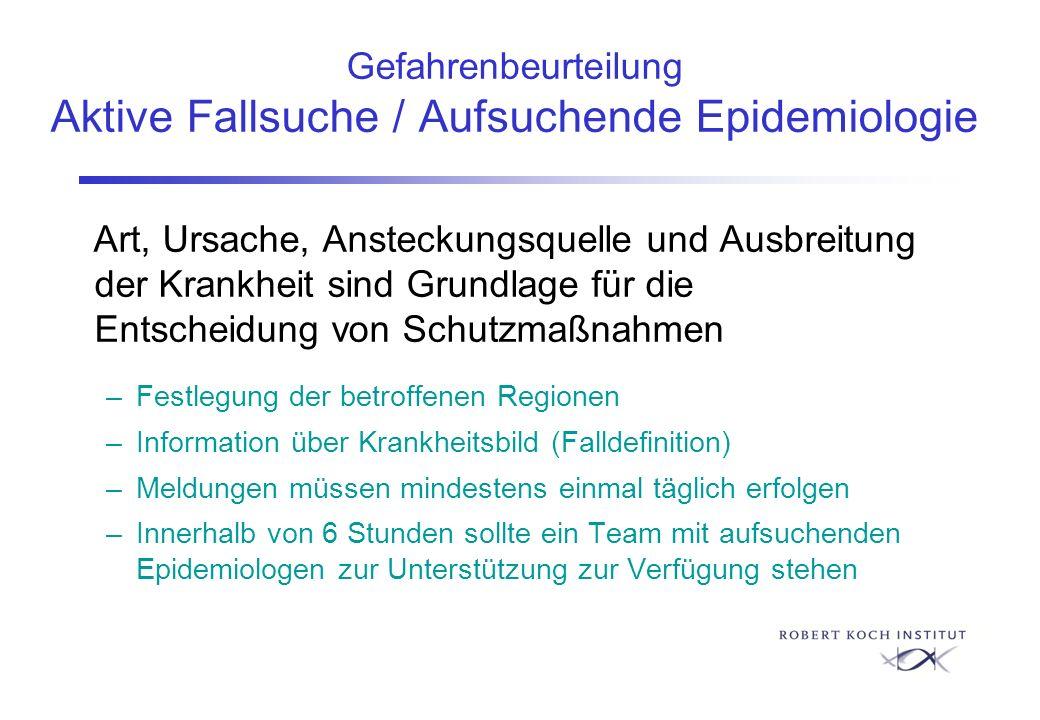 Gefahrenbeurteilung Aktive Fallsuche / Aufsuchende Epidemiologie Art, Ursache, Ansteckungsquelle und Ausbreitung der Krankheit sind Grundlage für die