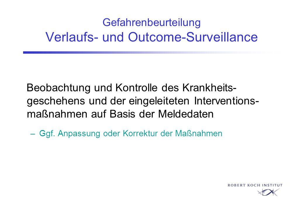 Gefahrenbeurteilung Verlaufs- und Outcome-Surveillance Beobachtung und Kontrolle des Krankheits- geschehens und der eingeleiteten Interventions- maßna
