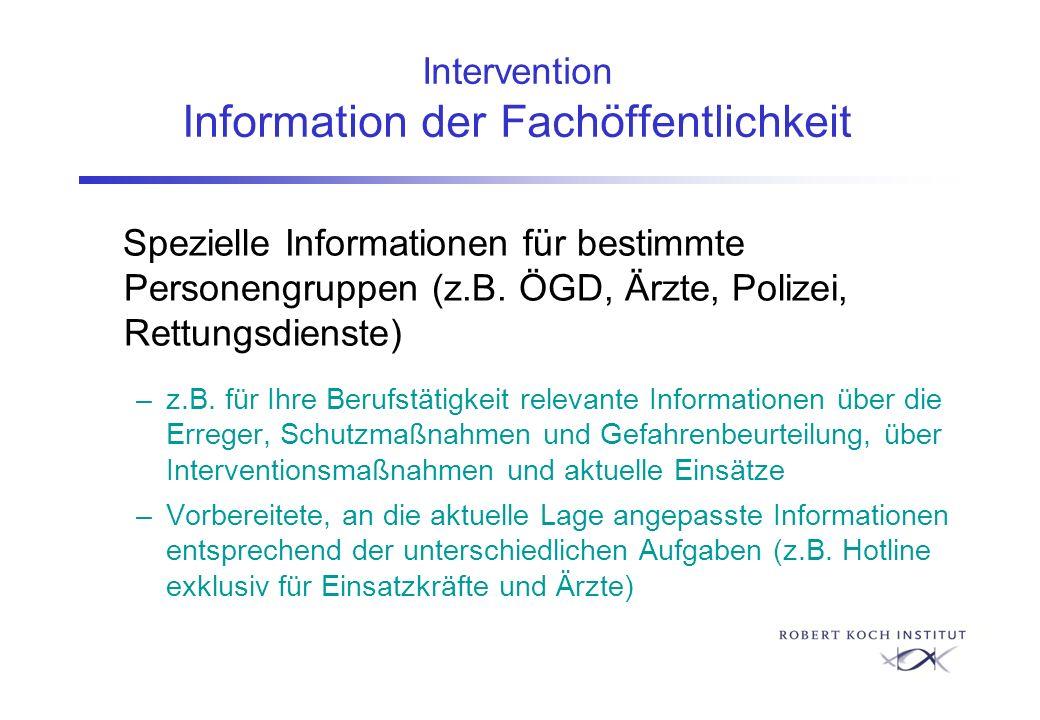 Intervention Information der Fachöffentlichkeit Spezielle Informationen für bestimmte Personengruppen (z.B. ÖGD, Ärzte, Polizei, Rettungsdienste) –z.B