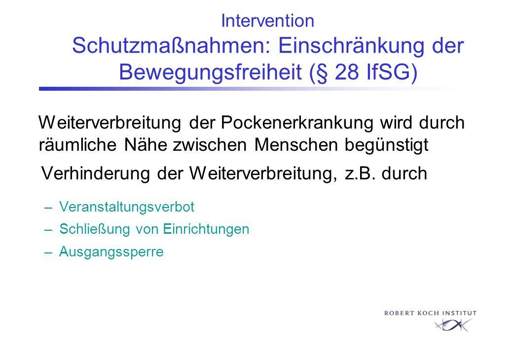 Intervention Schutzmaßnahmen: Einschränkung der Bewegungsfreiheit (§ 28 IfSG) Weiterverbreitung der Pockenerkrankung wird durch räumliche Nähe zwische
