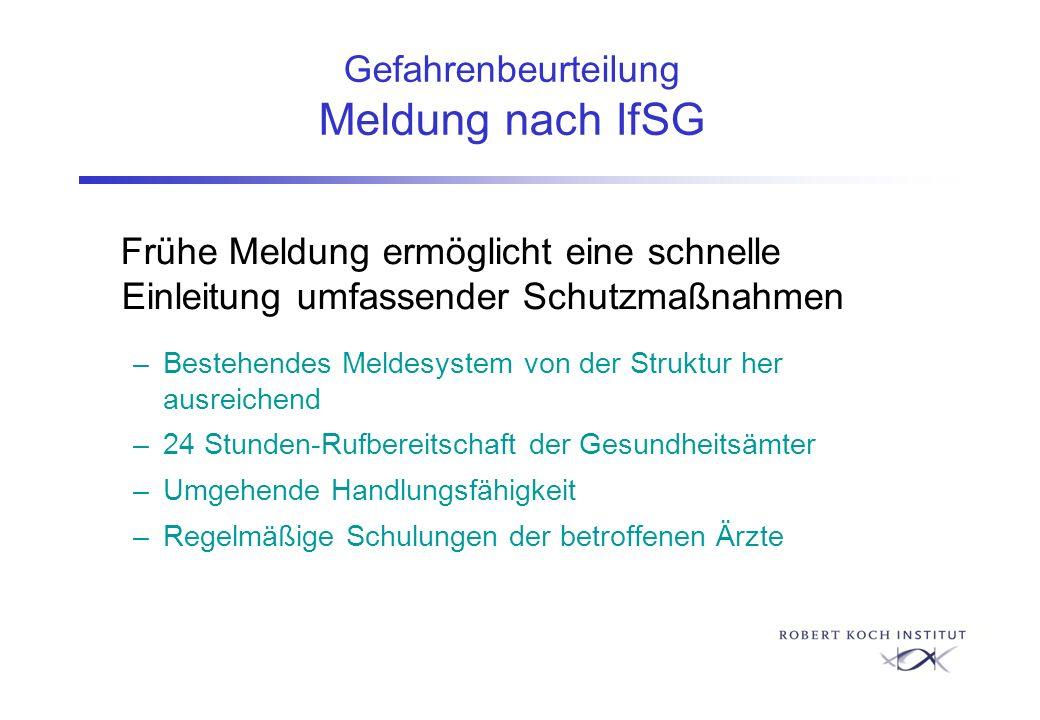 Gefahrenbeurteilung Meldung nach IfSG Frühe Meldung ermöglicht eine schnelle Einleitung umfassender Schutzmaßnahmen –Bestehendes Meldesystem von der S