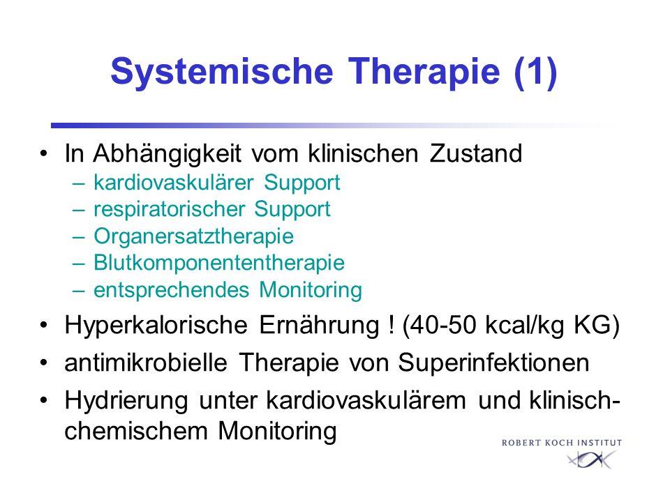 Systemische Therapie (1) In Abhängigkeit vom klinischen Zustand –kardiovaskulärer Support –respiratorischer Support –Organersatztherapie –Blutkomponen