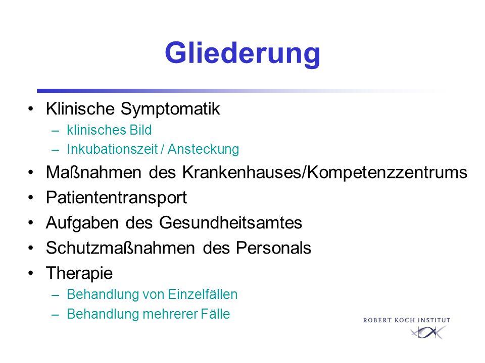 Gliederung Klinische Symptomatik –klinisches Bild –Inkubationszeit / Ansteckung Maßnahmen des Krankenhauses/Kompetenzzentrums Patiententransport Aufga