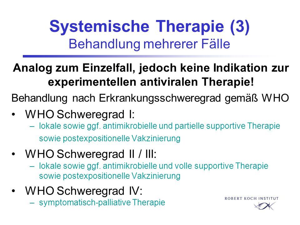 Systemische Therapie (3) Behandlung mehrerer Fälle Analog zum Einzelfall, jedoch keine Indikation zur experimentellen antiviralen Therapie! Behandlung