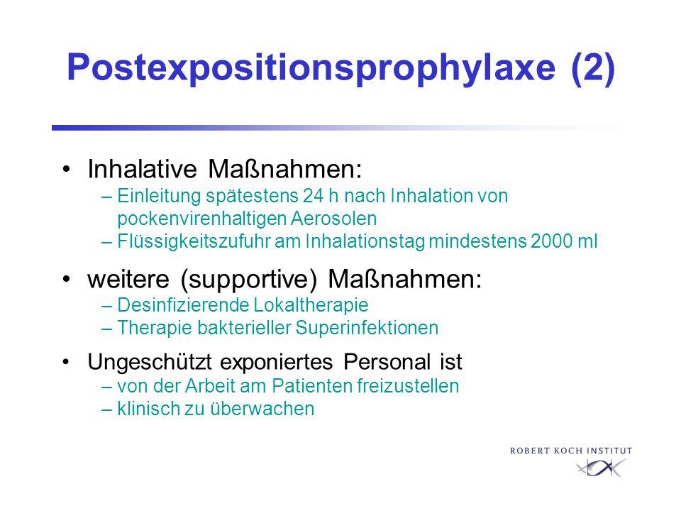 Postexpositionsprophylaxe (2) Inhalative Maßnahmen: – Einleitung spätestens 24 h nach Inhalation von pockenvirenhaltigen Aerosolen – Flüssigkeitszufuh