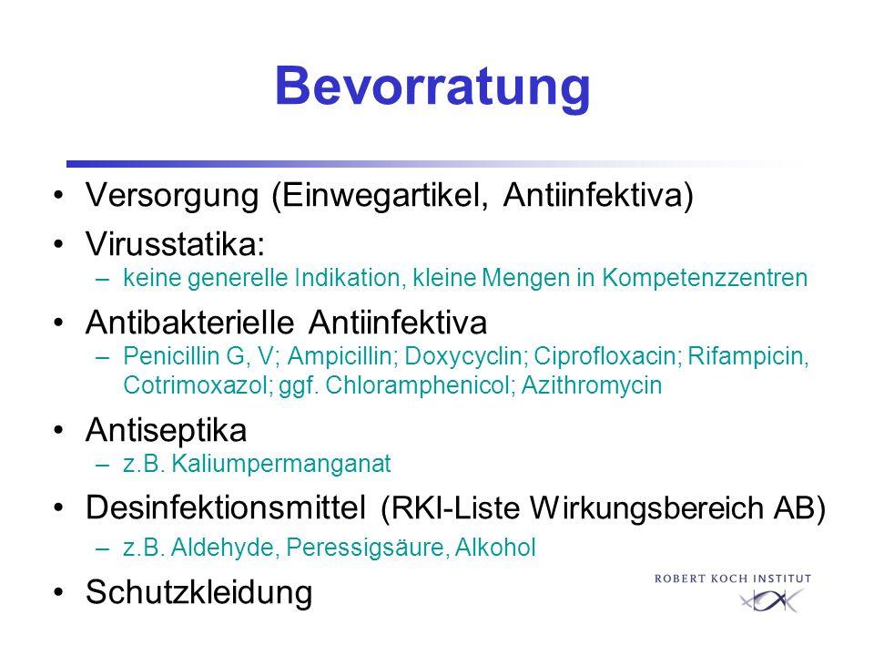 Bevorratung Versorgung (Einwegartikel, Antiinfektiva) Virusstatika: –keine generelle Indikation, kleine Mengen in Kompetenzzentren Antibakterielle Ant
