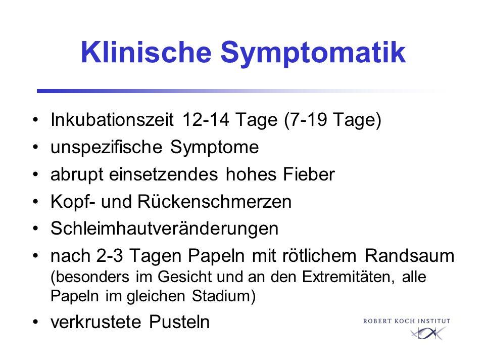Klinische Symptomatik Inkubationszeit 12-14 Tage (7-19 Tage) unspezifische Symptome abrupt einsetzendes hohes Fieber Kopf- und Rückenschmerzen Schleim