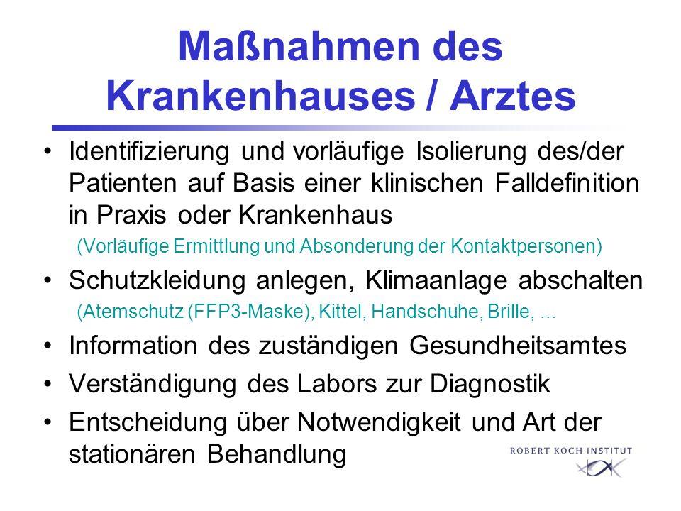 Maßnahmen des Krankenhauses / Arztes Identifizierung und vorläufige Isolierung des/der Patienten auf Basis einer klinischen Falldefinition in Praxis o
