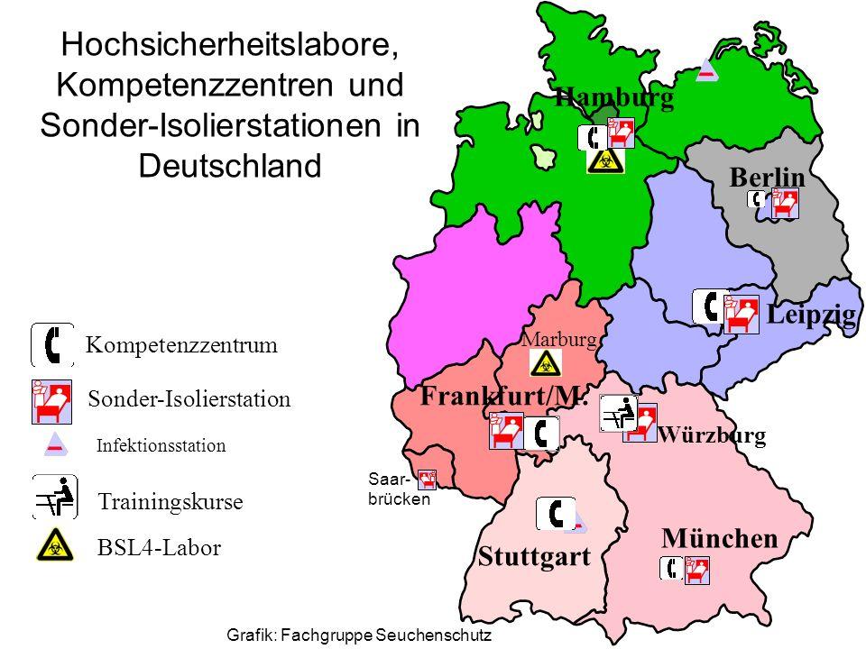 München Stuttgart Frankfurt/M. Leipzig Berlin Hamburg Würzburg Kompetenzzentrum Sonder-Isolierstation Hochsicherheitslabore, Kompetenzzentren und Sond