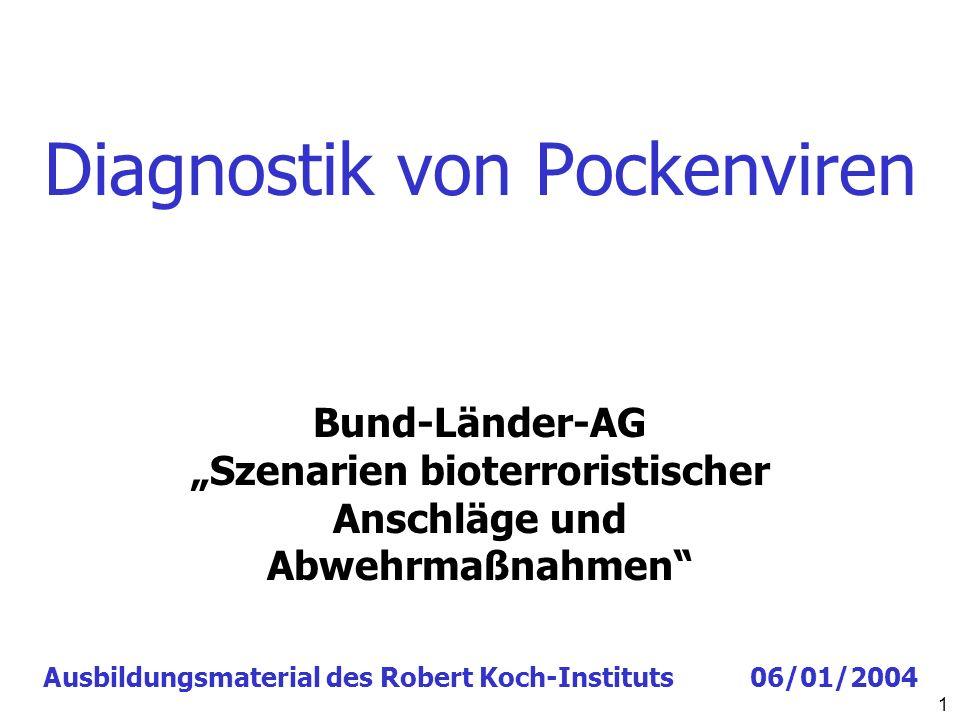 Diagnostik von Pockenviren 1 Ausbildungsmaterial des Robert Koch-Instituts 06/01/2004 Bund-Länder-AG Szenarien bioterroristischer Anschläge und Abwehr