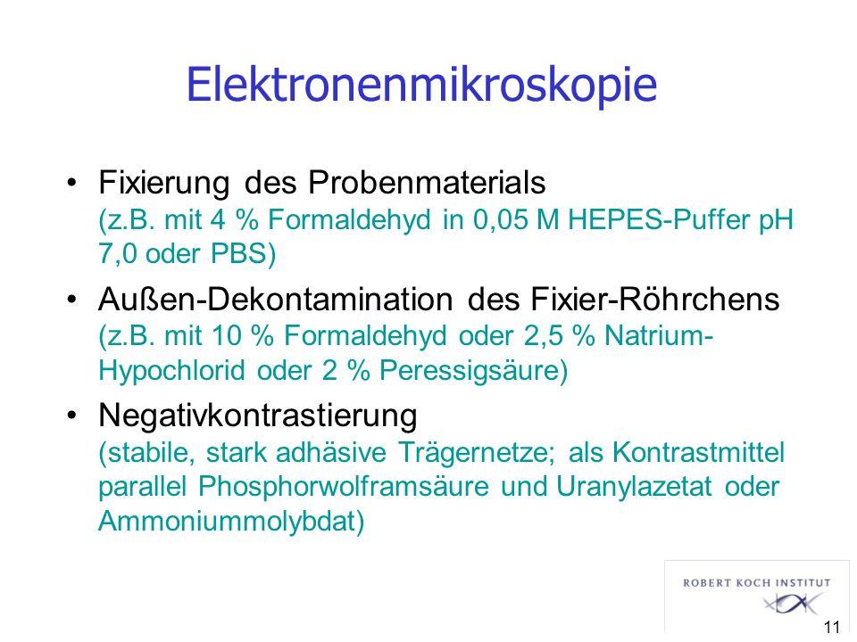 Elektronenmikroskopie Fixierung des Probenmaterials (z.B. mit 4 % Formaldehyd in 0,05 M HEPES-Puffer pH 7,0 oder PBS) Außen-Dekontamination des Fixier