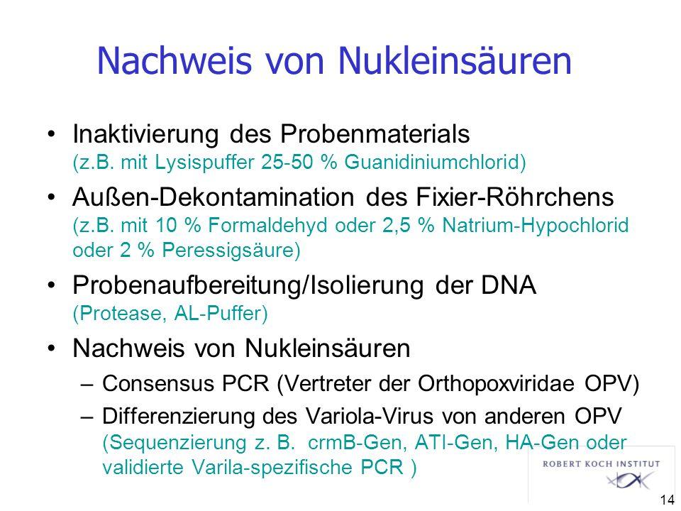 Nachweis von Nukleinsäuren Inaktivierung des Probenmaterials (z.B. mit Lysispuffer 25-50 % Guanidiniumchlorid) Außen-Dekontamination des Fixier-Röhrch